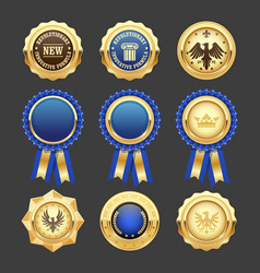 blue award rosettes insignia and heraldic medals vector image vector image
