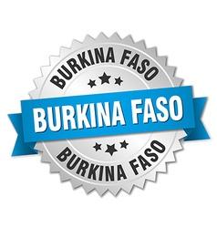 Burkina Faso round silver badge with blue ribbon vector image