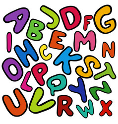 english colorful alphabet for kids vector image