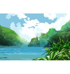 Landscape beautiful bay among green mountains vector