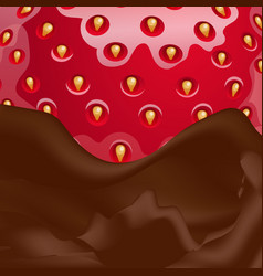 melted chocolate and strawberries vector image
