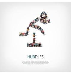 people sports hurdles vector image