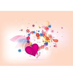 abstract floral heart background for vlentines day vector image