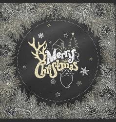 Chalk christmas coniferous frame on blackboard vector