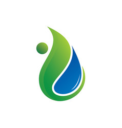 leaf water eco nature logo image vector image