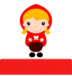 Little Red riding hood with basket vector image vector image