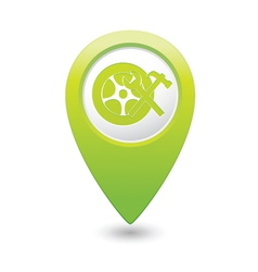 car wheel service icon on green map pointer vector image