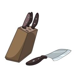 cartoon home kitchen knife set vector image