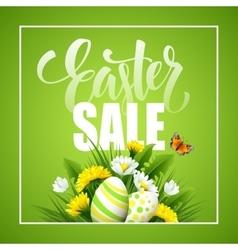 Easter greeting Lettering Flower Egg vector image vector image