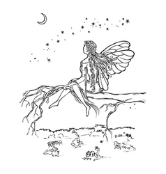 Fairy sitting on branch vector