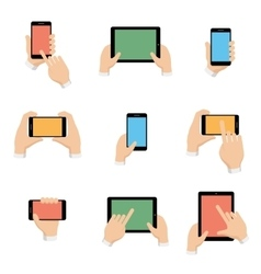 icons set of smartphone and tablet in hands vector image vector image