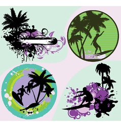 summer frames set with palm trees vector image