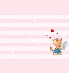 valentines card with cute tabby cat i vector image vector image