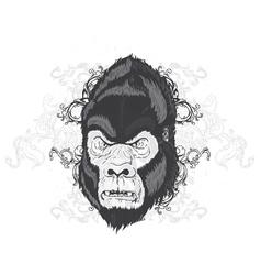 vintage t-shirt design with gorilla head vector image