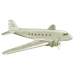 Woodcut Vintage Plane vector image