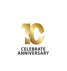 10 years anniversary celebrate gold template vector