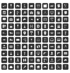 100 construction icons set black vector