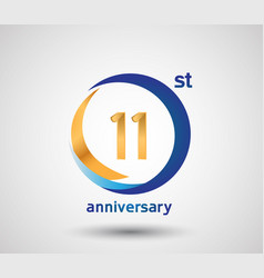 11 anniversary design with blue and golden circle vector