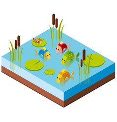 3d design for pond scene with fish and dragonfly vector image