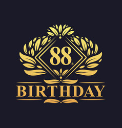 88 years birthday logo luxury golden 88th vector