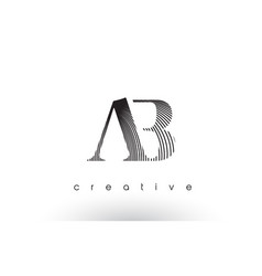 Ab logo design with multiple lines and black vector