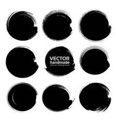 Abstract black circle textured ink strokes vector
