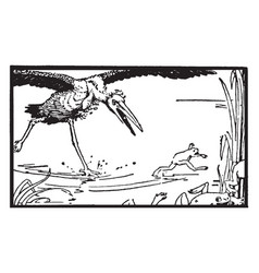 Aesops fables the frogs who wanted a king vintage vector