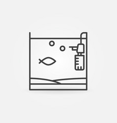 Aquarium with fish and filter icon vector