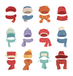 Autumn and winter hats with a warm scarf vector