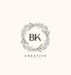 Bk beauty initial logo art handwriting logo vector