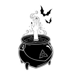 Boiling magic cauldron with witch hand and bats vector