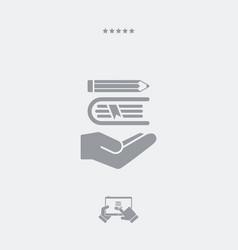 book and pencil - minimal icon vector image