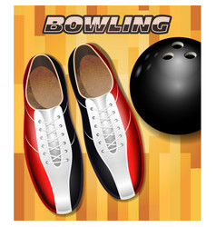 Bowling shoes and ball on bowling court parquet vector