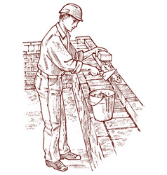 bricklayer or man builder on the roof of the house vector image