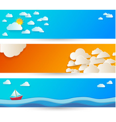 Bright abstract background with white paper clouds vector