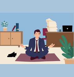 Businessman doing yoga in office vector