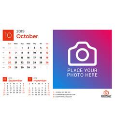 Calendar for october 2019 design print template vector