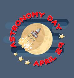 Cartoon space rocket and moon astronom vector