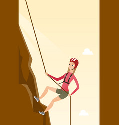Caucasian woman climbing a mountain with rope vector