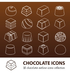 Chocolate outline icons vector