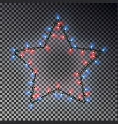 christmas star of lights string isolated on transp vector image