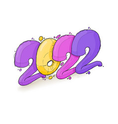 Colorful cartoon sticker for new year 2022 vector