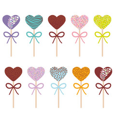 colorful sweet cake pops hearts set with bow vector image