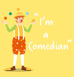 Comedian character with balls on yellow background vector
