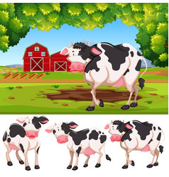 cow at the farland vector image