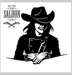 cowgirl with bottle tequila - picture vector image