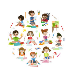 creative kids painting modelling from plasticine vector image