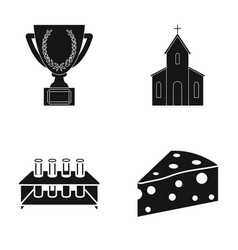 Cup church and other web icon in black style vector