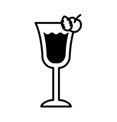 Cup with cocktail drink and cherries line style vector