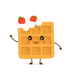 cute smiling funny viennese waffle vector image